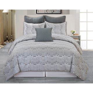 Veyra 6-piece Chevron Jacuard Queen-size Oversized and Overfilled Comforter Set
