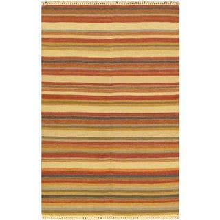 ecarpetgallery Kaleidoscope Orange Wool Handwoven Kilim (4'7 x 7'3)