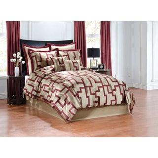 Aixa Geometric Wine Red Jacquard 8-Piece Comforter Set