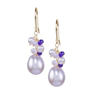 14k Yellow Gold Pink Freshwater Pearl Amethyst Rose Quartz Hook Earrings