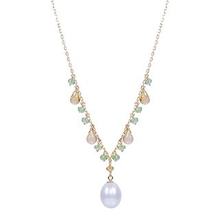 14k White Freshwater Pearl Cirtrine Peridot 17-inch Necklace