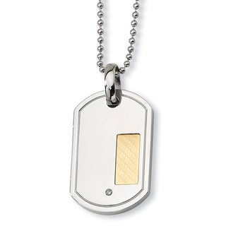 18-carat Gold Plate Stainless Steel with .01-carat Diamond 24-inch Dog Tag Necklace