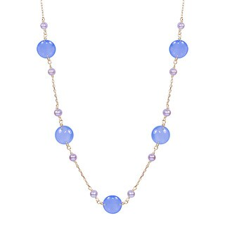 14k Yellow Gold Pink Pearl Blue Agate 18-inch Station Necklace