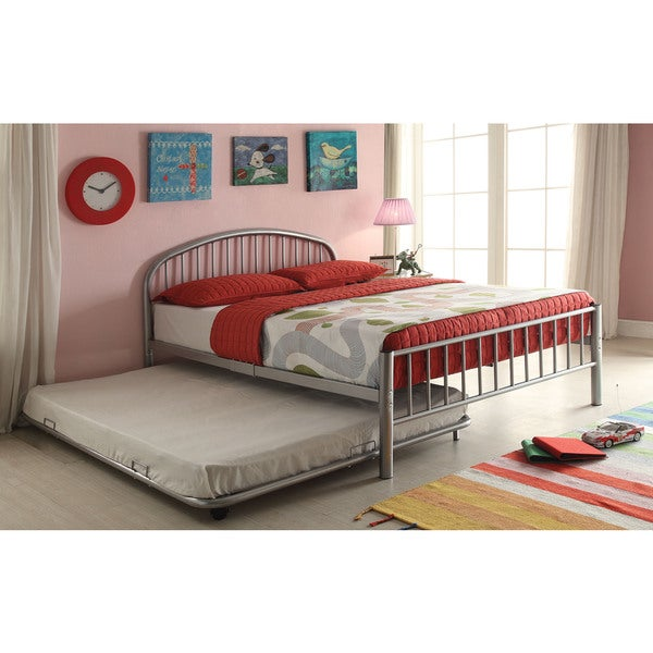 Acme Cailyn Silver Metal Full Size Trundle Bed Free Shipping Today