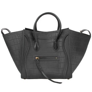 Celine Luggage Phantom Handbag in Black Nubuck Stamped Crocodile