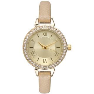 Olivia Pratt Women's Rhinestone-Accented Leather Classic Inspired Watch