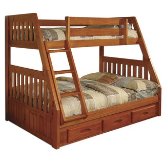 Honey Pine Twin-over-full Bunk Bed Frame With Drawers and Mattresses