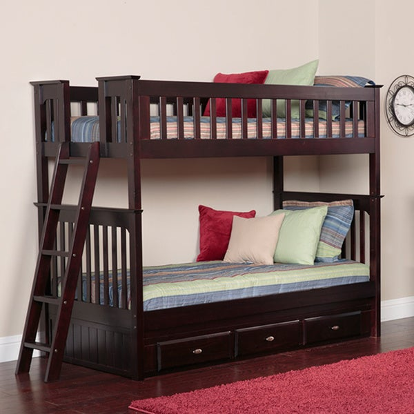 Espresso Wood Twin-over-twin 3-drawer Bunk Bed With 8-inch Coil Mattresses