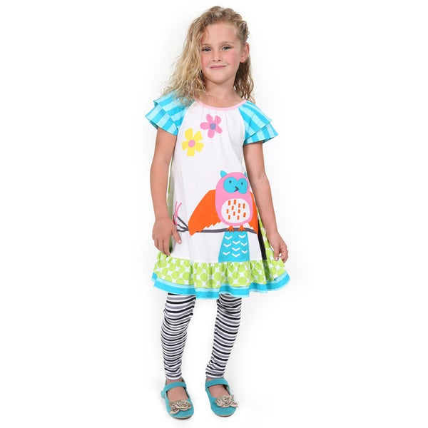 Jelly the Pug Girls' Hooting Owl Cotton Dress and Legging Set 19259885