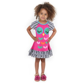 Girl's 1672 Multi-color Cotton Owl Dress