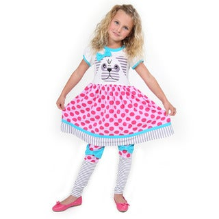 Girl's Multicolor Cotton Short-sleeve Pug Dress and Legging Set