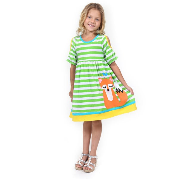 Girl's Multicolored Cotton Short-sleeved Sitting Fox Dress