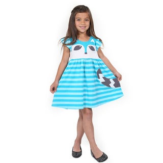 Girl's Cotton Cap-Sleeved Racoon Dress