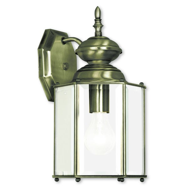 Livex Lighting Outdoor Basics Antique Brass Outdoor Wall Lantern