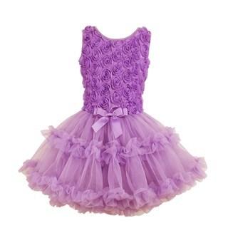 Popatu Girls' Lavender Soutache Flower Petti Dress