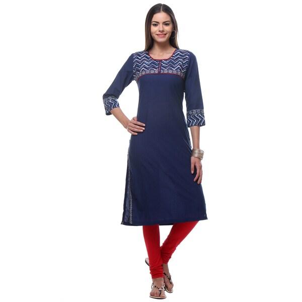 In-Sattva Women's Blue Cotton Kurta Tunic with Zig Zag Patterned Yoke and Trim