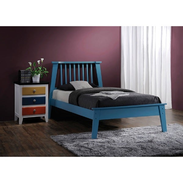 Marlton Blue Wood Queen Panel Bed
