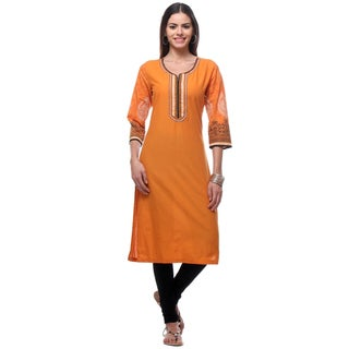 In-Sattva Women's RRR0131 Orange Cotton Indian Kurta Tunic with Patterned Sleeves