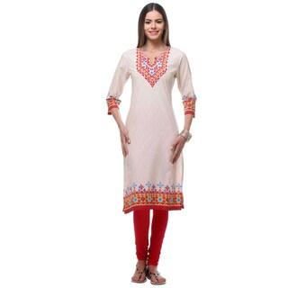 In-Sattva Women's Off-white Cotton Kurta Tunic with Printed Yoke