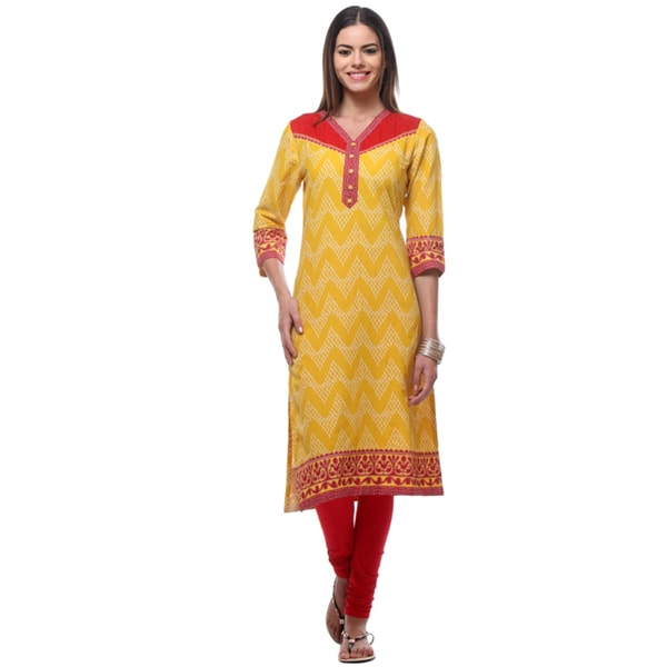 In-Sattva Women's Indian Red/Yellow Zig Zag Patterned Energetic Kurta Tunic
