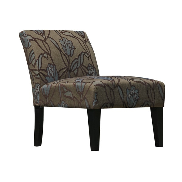 Blue/Brown Fabric Armless Slipper Lotus Accent Chair