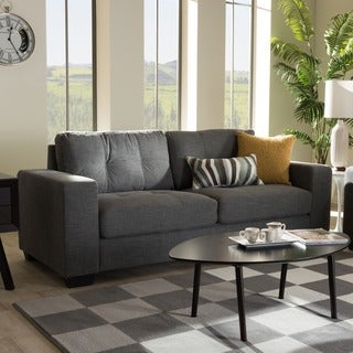 Baxton Studio Alphaios Modern and Contemporary Shadow Grey Fabric Upholstered 3-Seater Sofa