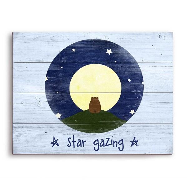 Star Gazing Bear Blue Wood Graphic Wall Art