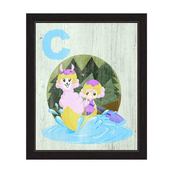'C is for a Girl and Her Llama in a Canoe' Alphabet Graphic Wall Art Print with Black Frame