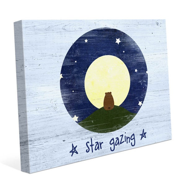 'Star Gazing Bear' Blue Graphic Canvas Wall Art