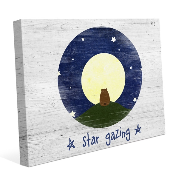 'Star Gazing Bear' White Canvas Graphic Wall Art