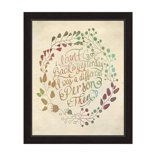 'I Can't Go Back to Yesterday' Black Frame Graphic Wall Art