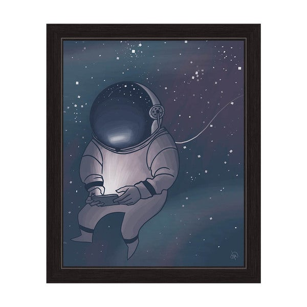 'Little Astronaut in Space' Graphic Wall Art With Black Frame
