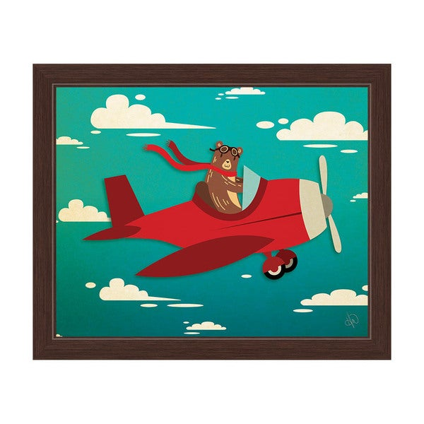 'Bear Pilot in a Little Red Plane' Graphic Wall Art Print With Black Frame