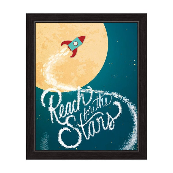 'Reach for the Stars on a Little Rocket Ship' Graphic Wall Art With Black Frame