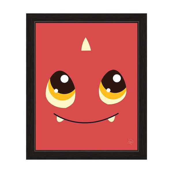 Red Monster Black-framed Graphic Wall Art