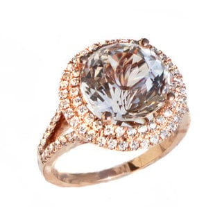 14k Rose Gold 5/8ct TDW Diamond and Danburite and Ring (G-H, VS1-VS2)