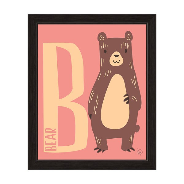 'B is for Bear' Graphic Wall Art with Black Frame