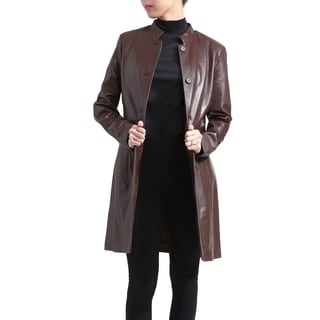 Women's Brown Lambskin Leather Button-front Coat with Zip-out Liner