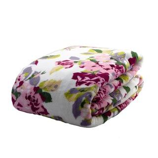 Laura Ashley Lidia Floral Supreme Velvet Printed Plush Blanket