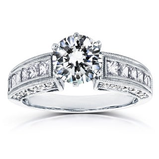 Annello 14k White Gold Certified 1 4/5ct TDW Round Diamond Engagement Ring (G, SI3)