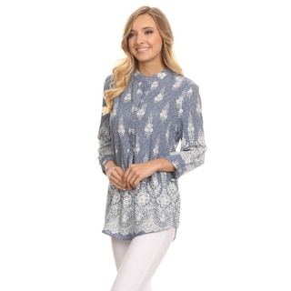 MOA Collection Women's Multicolored Polyester Ornate V-neck Tunic