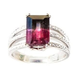 California Girl Jewelry 14k Yellow Gold 5/8ct TDW Diamond and Watermelon Tourmaline Ring (G-H, VS1-VS2)