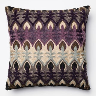 Embroidered Plum/ Multi Damask Feather and Down Filled or Polyester Filled 18-inch Throw Pillow or Pillow Cover