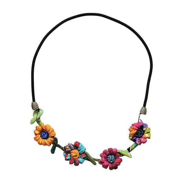 Handmade Daisy Flowers on Black Cord Necklace