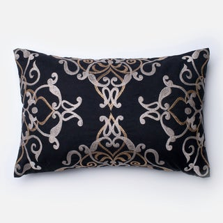Embroirdered Cotton Black Filigree Feather and Down Filled or Polyester Filled 13 x 21 Lumbar Throw Pillow or Pillow Cover