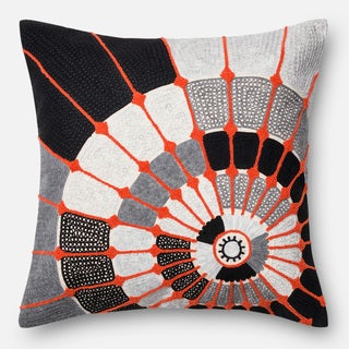Embroidered Cotton Grey/ Orange Spiral Feather and Down Filled or Polyester Filled 22-inch Throw Pillow or Pillow Cover