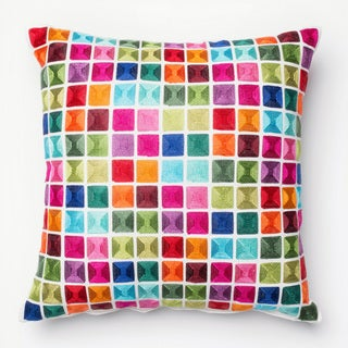 Embroidered Multi Mosaic Feather and Down Filled or Polyester Filled 18-inch Throw Pillow or Pillow Cover