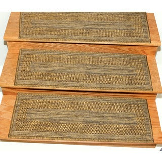 Ottomanson Jardin Collection Jute Back Indoor/Outdoor 9-inch x 26-inch Carpet Stair Treads (Case of 14)