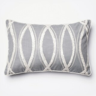 Embroidered Grey/ White Feather and Down Filled or Polyester Filled 13 x 21 Lumbar Throw Pillow or Pillow Cover