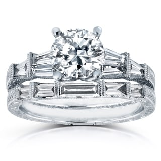 Annello 18k White Gold Certified 1 4/5ct TDW Round and Baguette Diamond Art Deco Bridal Rings (G, SI3)